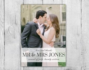 Custom Photo Wedding Thank You Card, Printable Thank You Card, Wedding Thank You Card Photo