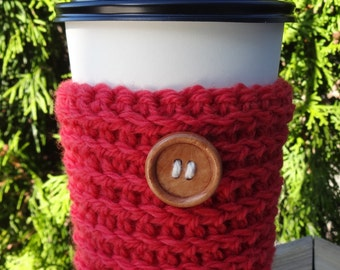 Red Coffee Cozy/Red Coffee Sleeve/Crochet Coffee Cozy/Coffee Sweater/Mug Cozy/Coffee Sleeve/Tea Cozy/Moms Day Gift/Gift for Her/Red Cozy