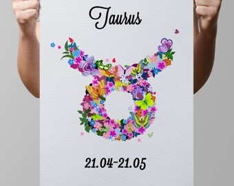 Printable-Custom-Horoscope-Astrological zodiac symbols-Stars-Space-Planets-Conjunctions-Birth-Your Own Zodiac Sign made from flowers-No.161