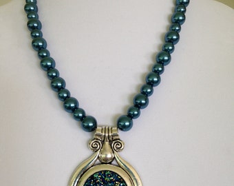 Blue Glass Pearls with Multi Colored Spackled Pendant Necklace