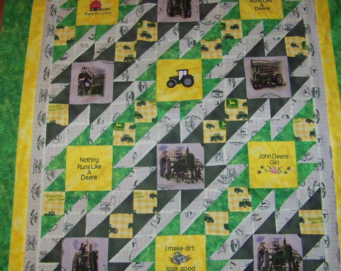 John D quilt, Country quilt, Tractors,Yellow and green,Farm style quilt, Twin quilt, full size quilt,queen size,King size,Blankets, throws
