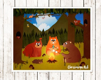 Campfire Nursery Decor Unique Kids Gift Woodland Nursery Decor  Woodland Art Prints Bear Forest Children's Wall Art Kids Room Art
