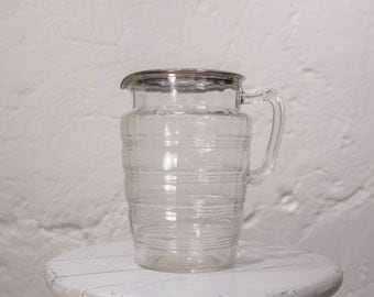 Vintage Art Deco Beveled Glass Water / Juice / Iced Tea Pitcher w/ Beveled Ribbed Glass and Hand Painted Sterling Silver Rim 20s/30s