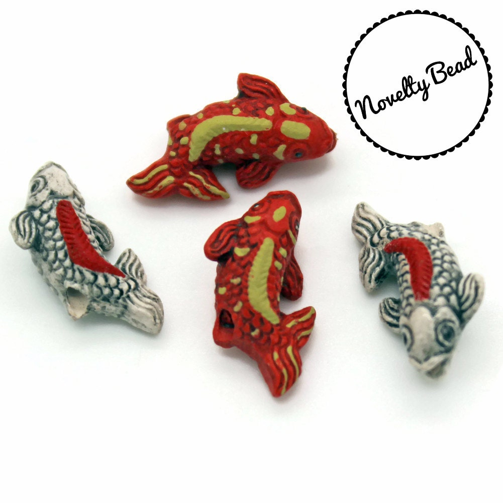 4 small white orange gold koi fish beads oriental
