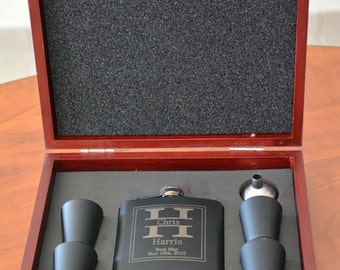 7 Rosewood flask sets, Groomsmen Gift, Custom Flask, Engraved Flasks, Wedding Party Gift, Wedding Favors
