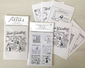 pakje van 6 ansichtkaarten 6 postcards