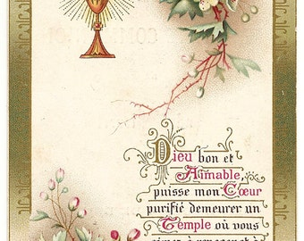 1900 Antique French Holy Prayer Card Communion Chalice with Flowers & Vines, Catholic Gift, Goldprint Card