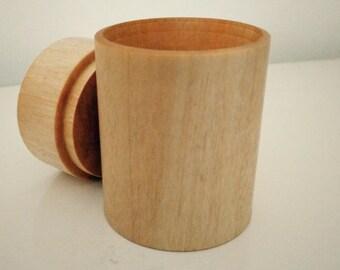 Birch wood Box-Hand turned - Beeswax