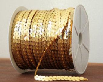 6mm sequin trim, Gold sequin trim strand, 5yds