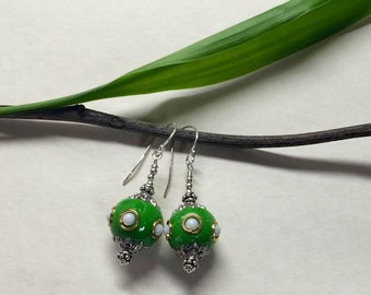 Bali Clay Bead Sterling Silver Earrings (Green)