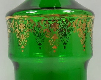 SALE!! Vintage Green Glass Decanter With Gold Details