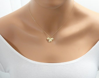 Gold Orchid Necklace - Dainty gold necklace - Tiny gold orchid flower - Bridesmaid Gifts - Bridal jewelry