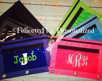 Personalized Canvas Pencil Case / Pouch / Bag for Back to School, Zippered Organizer School Supplies