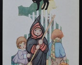 Halloween Postcard Whitney Publishing Little Girl Witch Children Costumes Black Cat Fantasy Postcard