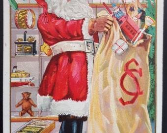 Santa Claus Postcard Christmas Postcard Santa 1900s Card Antique Holiday Postcard