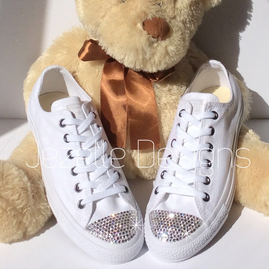 Bling Wedding Shoes ALL WHITE Wedding Converse Hand