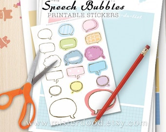 Speech Bubbles Printable Sticker, Daily Lifestyle, Write Text Template, Cute Thoughts Cloud, Diary Planner Journal Notebook, Clipart Doodle