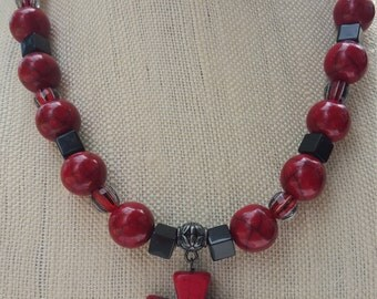 Red Howlite Cross necklace