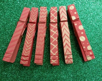 Pink and Silver Hand Painted Clothespins-Set of 6
