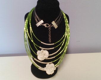 Necklaces with glass beads