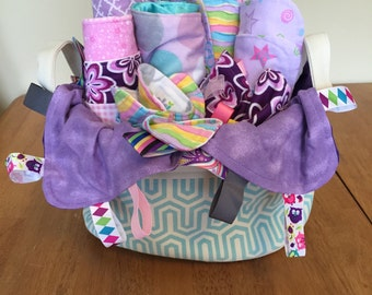 Deluxe Gift Basket - teal basket/purple