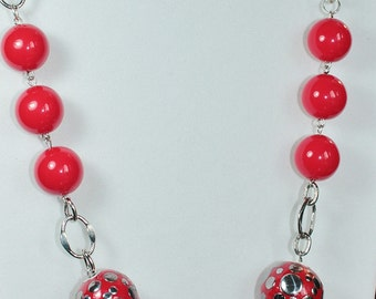 Lucious Red & Silver Statement Necklace