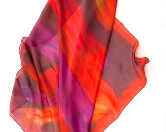 Firefly Silk Scarf HAndpainted. Square Hand painted scarf. Tulips silk scarf in red orange. Bright summer scarf. Wearable art. Silk painting