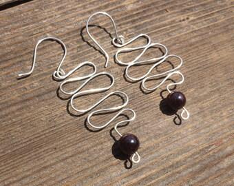 WIRE WRAPPED EARRINGS Garnet in Silver Handmade
