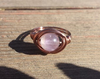 WIRE WRAPPED RING Amethyst in Antiqued Copper Handmade