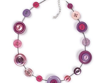 Button Necklace or Button Jewellery Set - Pink, Lilac and Purple