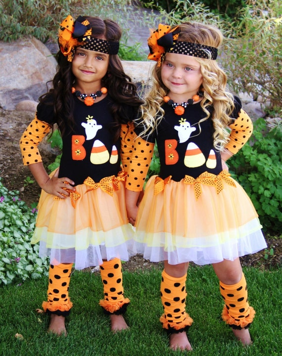 "Toddler Girl Long Sleeve Appliqued ""Boo"" Ghost Candy Corn Tutu Boutique Dress Costume Halloween Pageant Photo Shoot Party Dance 3/6M to 5/6Y"