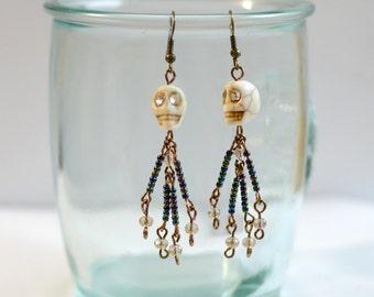 Beaded skeleton earrings
