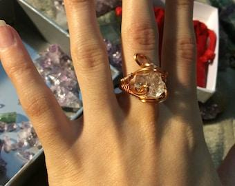 Adjustable Herkimer Diamond Ring