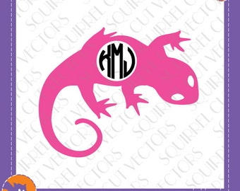 Salamander Monogram Frame SVG DXF EPS Cutting file