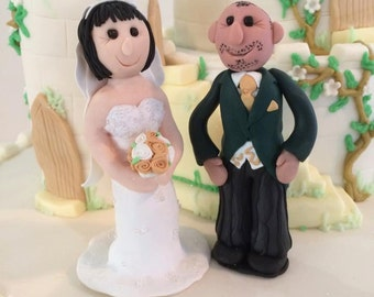 Handmade Wedding Cake Topper - 2 Figures (no base)