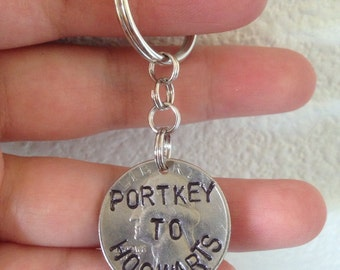 Portkey to Hogwarts Harry Potter Keychain, Necklace, Rear View Mirror Charm, or Zipper Pull Handstamped into a Quarter, Present, Gift