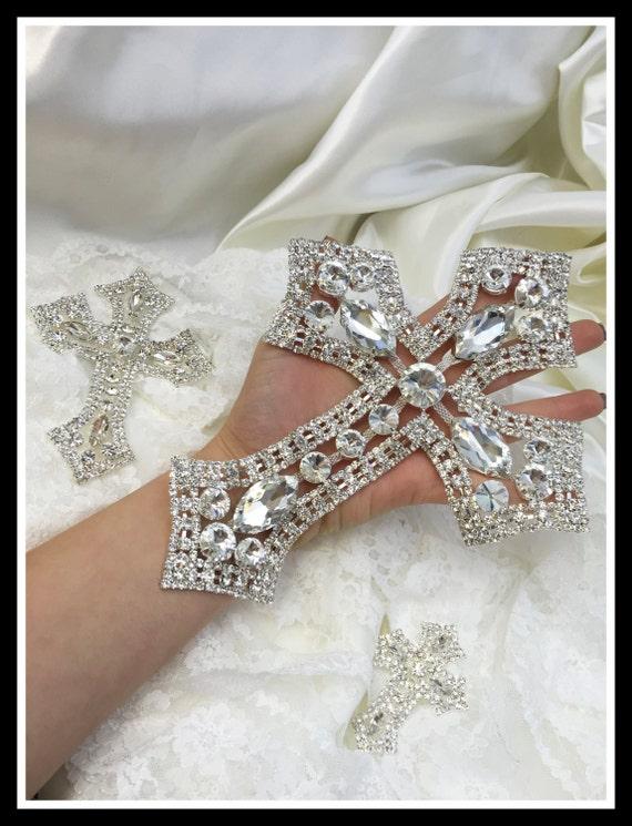 Rhinestone Cross Applique/ Swarovski Shine/ Baptism/ first communion (Gold/Silver) #0109