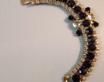 Vintage Black And Clear Rhinestone Bracelet, Art Deco Black Clear Rhinestone Bracelet, Art Deco Jewelry