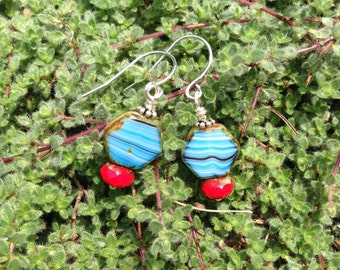 Blue and Red Glass Earrings - Silver