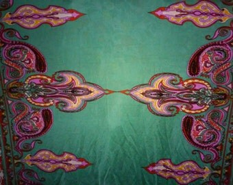 Boho Chic 100% Silk Jersey - Jade Green Near Eastern Style Pattern - Bold Large-Scale Fleur de Lis Print - Two-Way Stretch Knit by the Yard