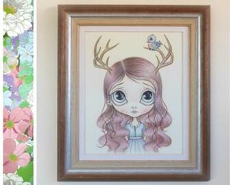 Deer Girl Nature Art Print 8x10 - Deer Antlers, Pop Surrealism, Vintage Art, Girls Room Decor, Bluebird Art, Big Eyed Art By Nicole Clements