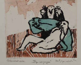 Funny illustration, Three monkeys - handmade original etching