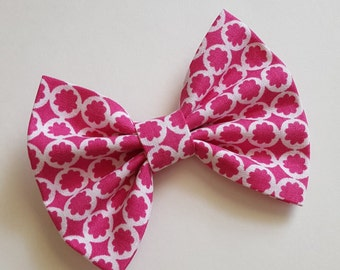 pink hair bow Fabric bow hair clip - pink and white hair bow - teen - newborn headband - toddler headband - baby headband - infant headband