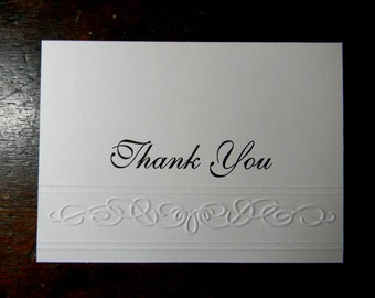 ON SALE  - Thank You Embossed Greeting Card, Blank Thank You Greeting Card, Embossed Thank You Greeting Card, Handmade Greeting Cards