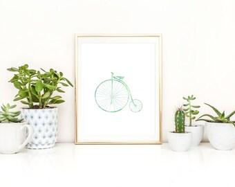 Vintage Bicycle Art Printable Blue Green Watercolor Digital Nursery Wall Decor