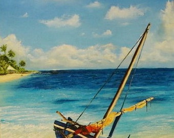 Oil Painting of the Caribbean sea
