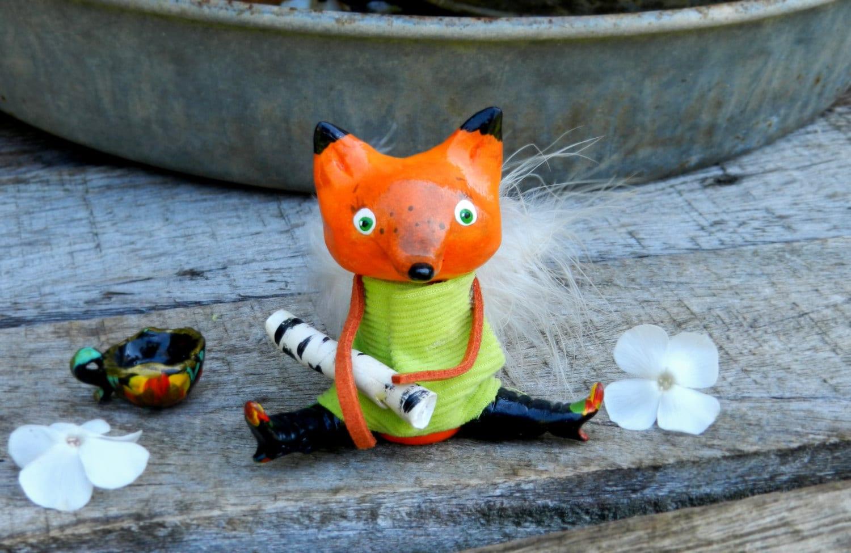 Fox clay fox fox figurine polymer clay animal cute animal