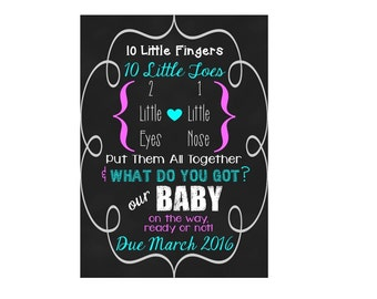 PRINTABLE Pregnancy Announcement Ten Little Fingers Ten Little Toes
