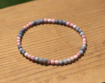 Pink and Blue Beaded Wire Wrap Bracelet