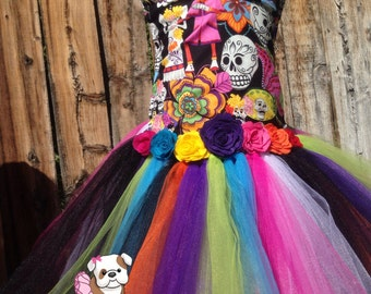 Girls day of the dead tutu dress-Dia De Los Muertos dress-day of the dead costume- tutu- disfraz- costum- themes party dress Halloween birth